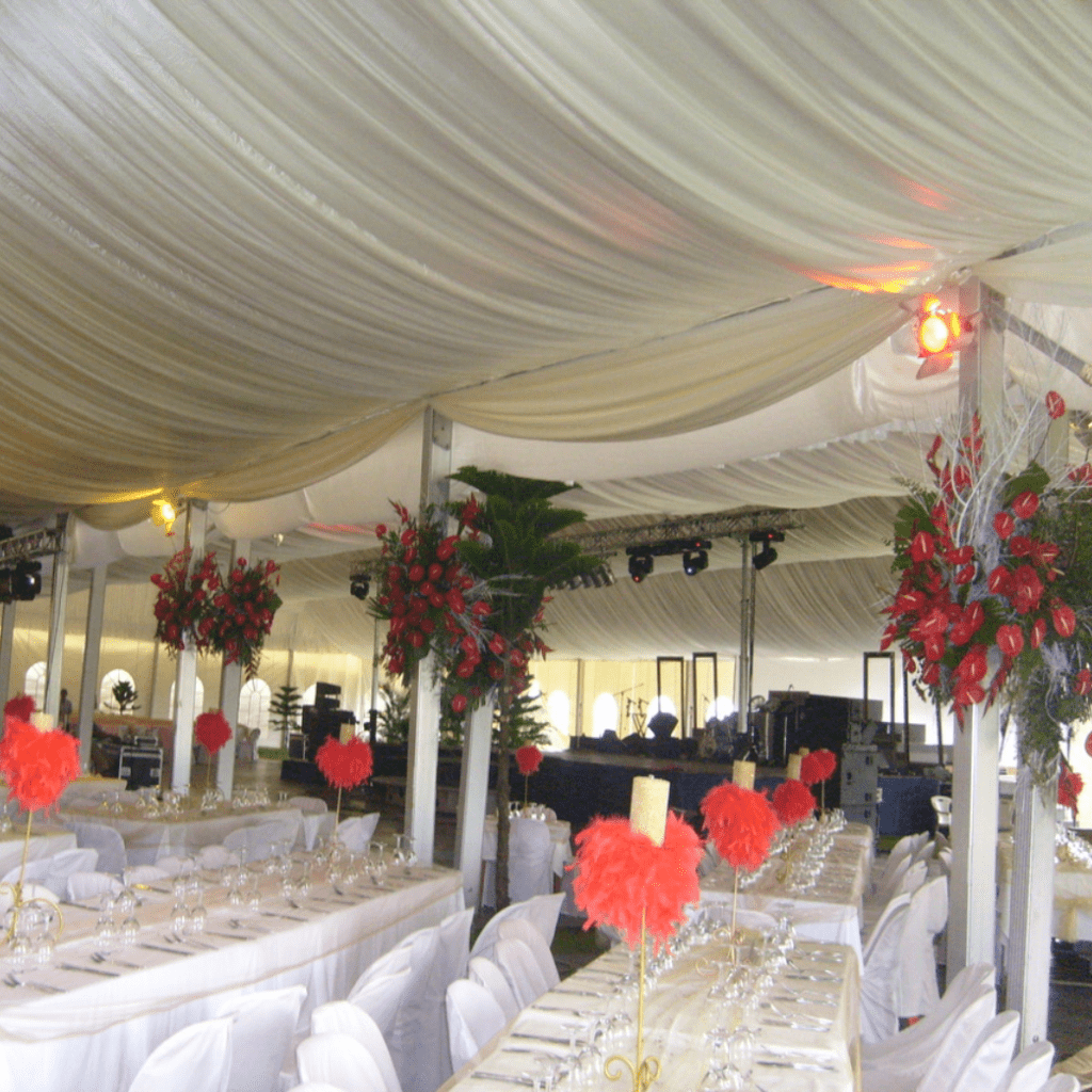 Draping Material from Wedding Tents